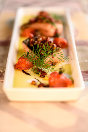 dill: Salmon fillet with french tomato and dill sauce