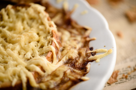 gastronomy: French traditional onions soup close-up with gratinated cheese Stock Photo