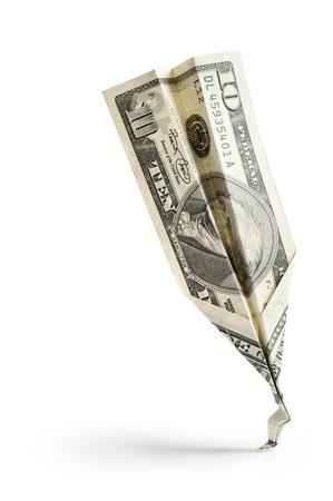 single dollar banknote crash on white background