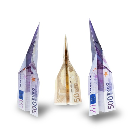 euro banknotes take-off, on white background