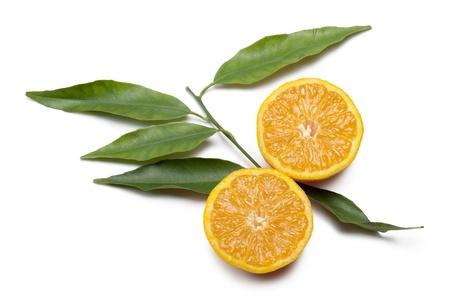 d'orange coupé en deux avec des feuilles sur fond blanc