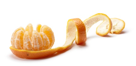 peeled tangerine with segment open, on white background Stock Photo