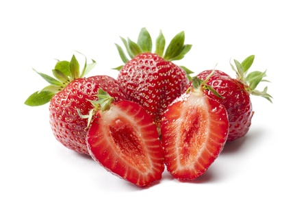 internal view of ripe strawberry, on white background