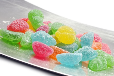fruit jelly candies on silver tray, on white background Stock Photo - 12633126