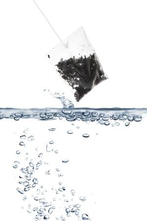 boiling: Black tea bag over boiling water