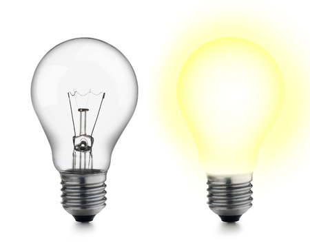 two bulbs, one of which turned on Stock Photo