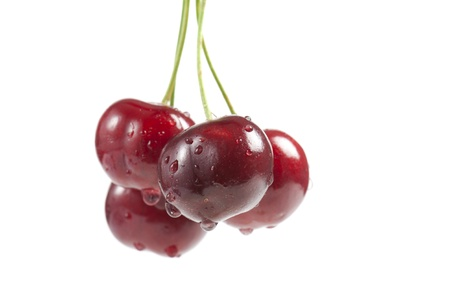 cluster of cherries with water drops, isolated on white