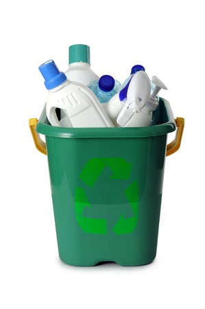 waste products: container with plastic waste, on white background Stock Photo
