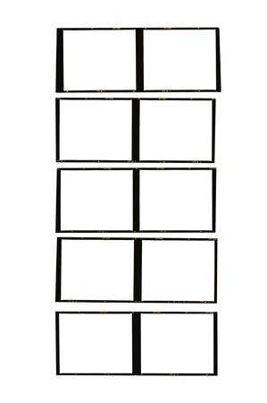 medium format film strips cut to test, isolated on white