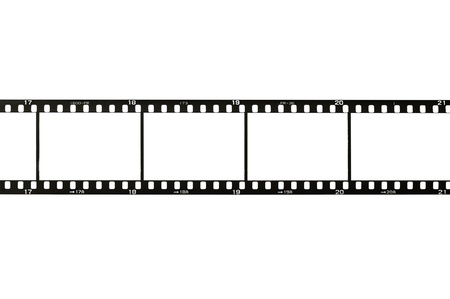 film roll: 35mm film strip, isolated on white