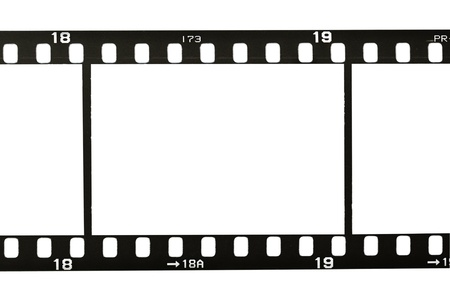 film camera: frame of 35mm film strip, isolated on white