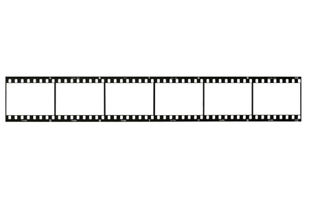 celluloid film: 35mm film strip, isolated on white