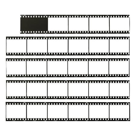 テストでは、白で隔離されカット 35 mm フォーマット フィルム ストリップ 写真素材