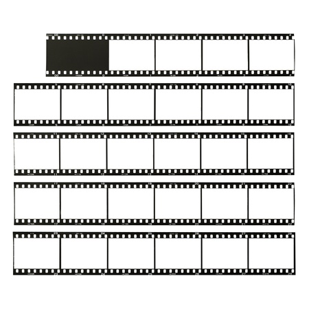 celluloid film: 35mm format film strips cut for test, isolated on white
