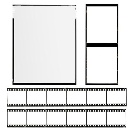 conjunto de los diferentes tipos de películas, aislados en blanco Foto de archivo