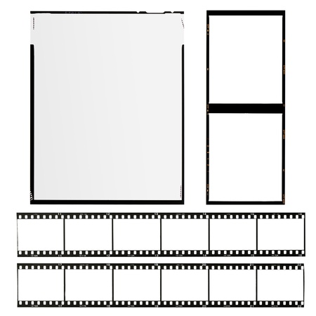 negative spaces: set of different types of films, isolated on white