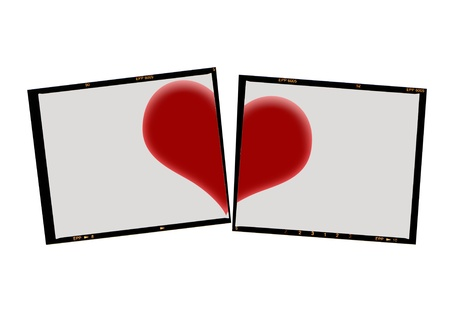medium format film cut with heart, isolated on white photo