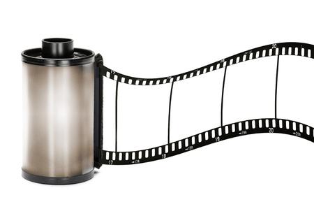 35 mm カメラ ロール フィルム、白で隔離されます。