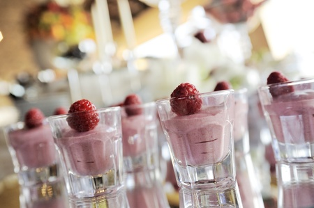 banqueting: raspberry cream in small glasses