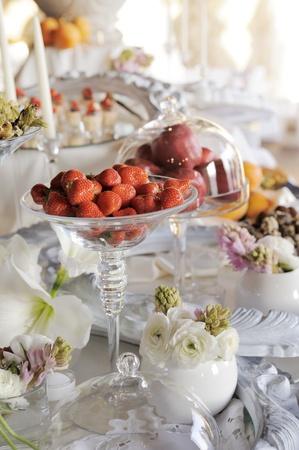dessert table: buffet with dessert and fruit