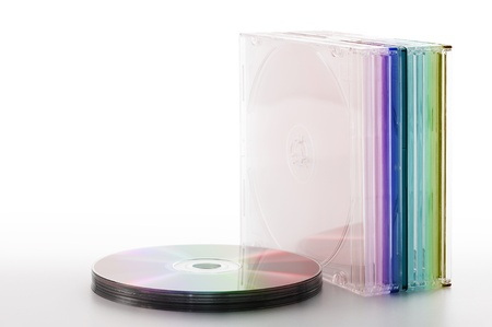 compact disk: colorful compact disk with cases, on white background