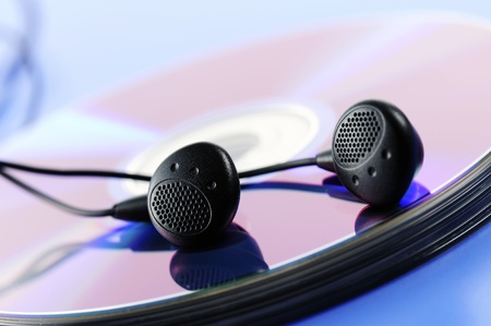 compact disk with earphone Stock Photo