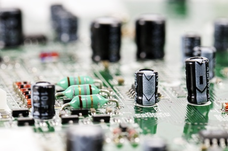 welds: circuit board with components Stock Photo