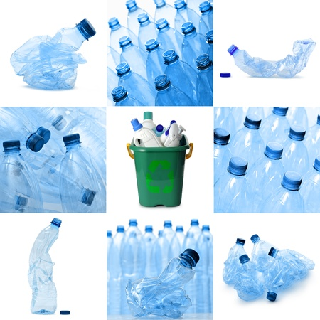 plastic waste recyclable collection, isolated on white photo
