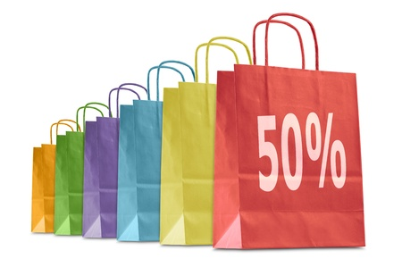 to consume: colorful shopping bags with discount icon, isolated on white