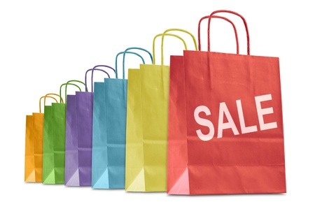 colorful shopping bags with written sale, isolated on white Stock Photo