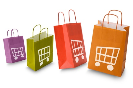 colorful shopping bags with e-commerce icon, isolated on white Stock Photo