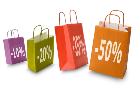 colorful shopping bags with discount icon, isolated on white