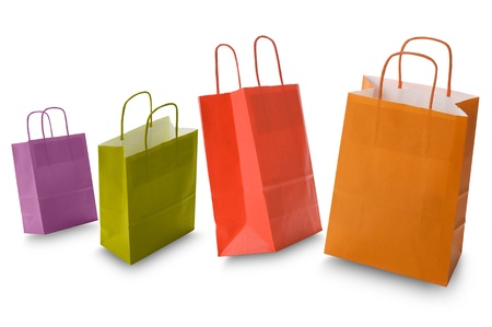 カラフルなショッピング バッグ、白で隔離されます。