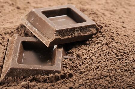 チョコレート ブロックとココア パウダー