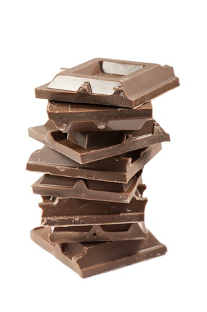 endorphines: stack of chocolate blocks, isolated on white Stock Photo