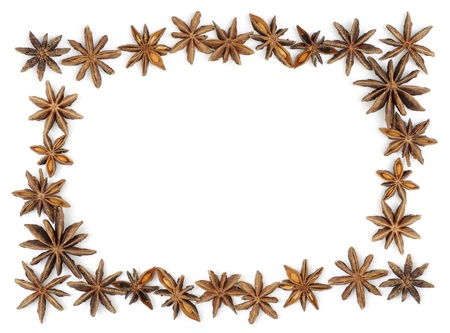 frame of anise stars with blank space, on white background Stock Photo - 13747813