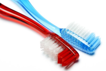 toothbrush red and blue, isolated on white Stock Photo