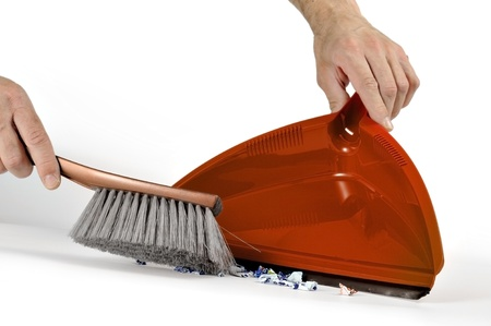 cleaning tools: taking the dirt with brush and dustpan