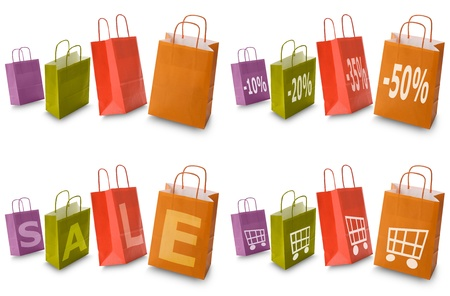 colorful shopping bags with commerce icon collection, isolated on white Stock Photo