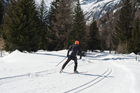 crosscountry: cross-country skier in sunny mountain landscape