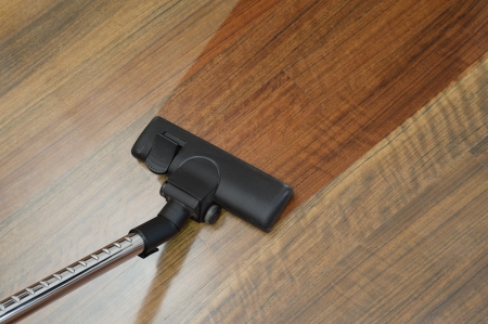cleaning floor: the floor clean with a vacuum cleaner