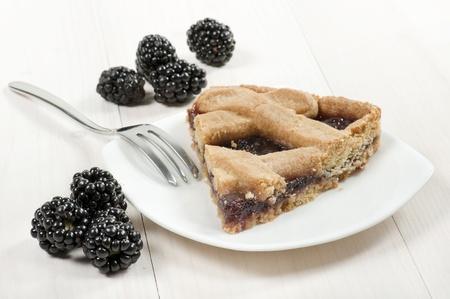dessert fork: slice of blackberry tart on plate