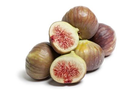 ripe figs on white background Stock Photo
