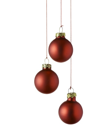red christmas balls, isolated on white photo
