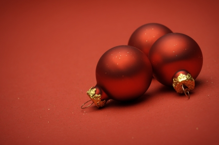red christmas balls on red background Stock Photo - 16218707