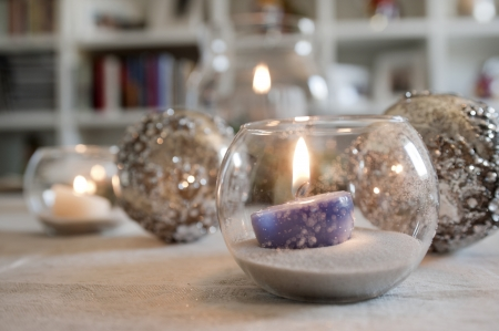 christmas bubble glass with candle and christmas balls Stock Photo - 16400613