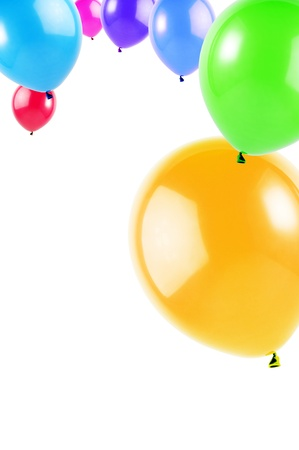 balloon background: colorful flying balloons isolated on white, vertical image Stock Photo