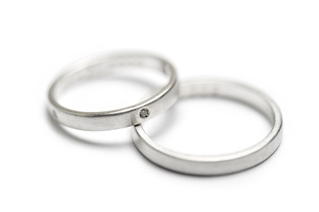 wedding rings with little diamond, on white background