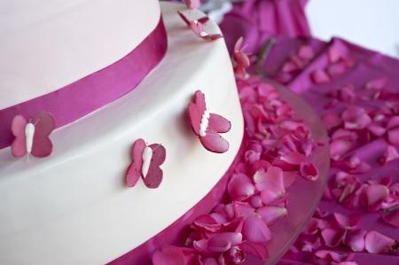 pastel boda: pastel de bodas decorada con pétalos de rosa y mariposas