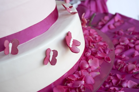 butterfly knife: wedding cake decorated with rose petals and butterflies